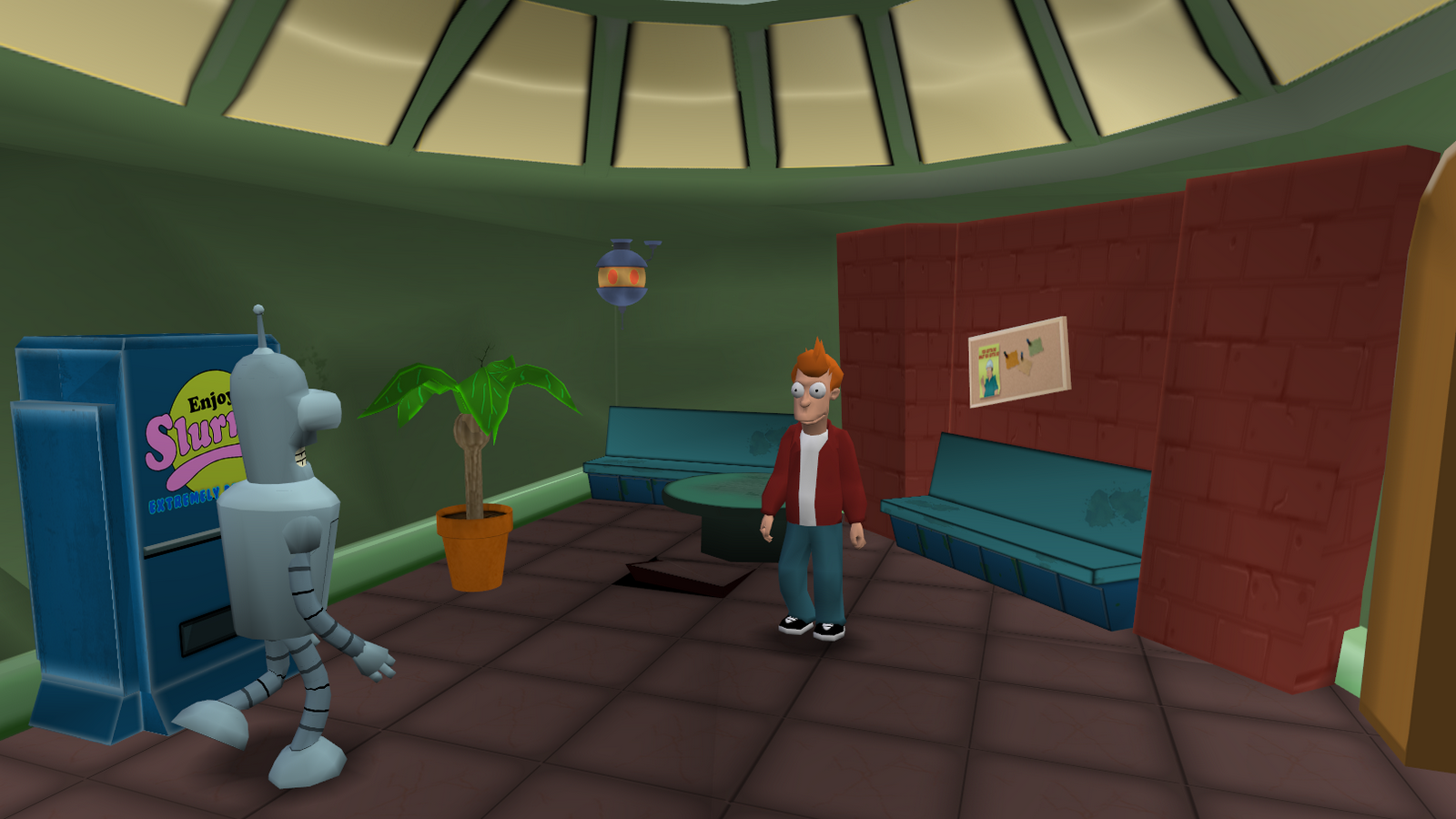 Fry standing inside the Planet Express building.