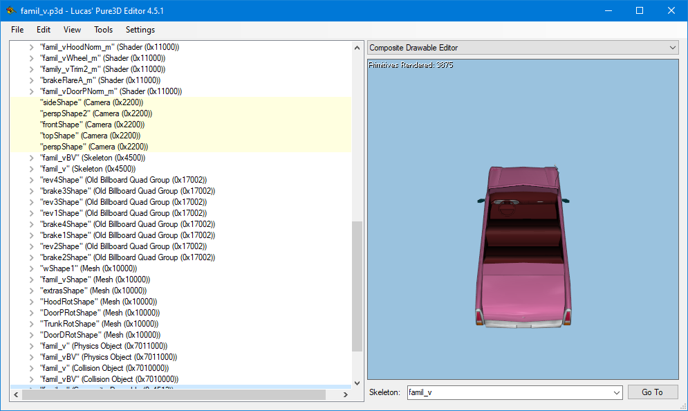 The main window with the Family Sedan's P3D file (art\cars\famil_v.p3d) open.